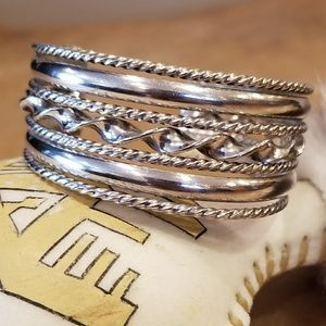 Jewelry - Mexican Sterling 7 Band Braid Twist Cuff